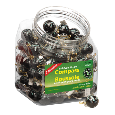 Bowl of Pin-On Compasses